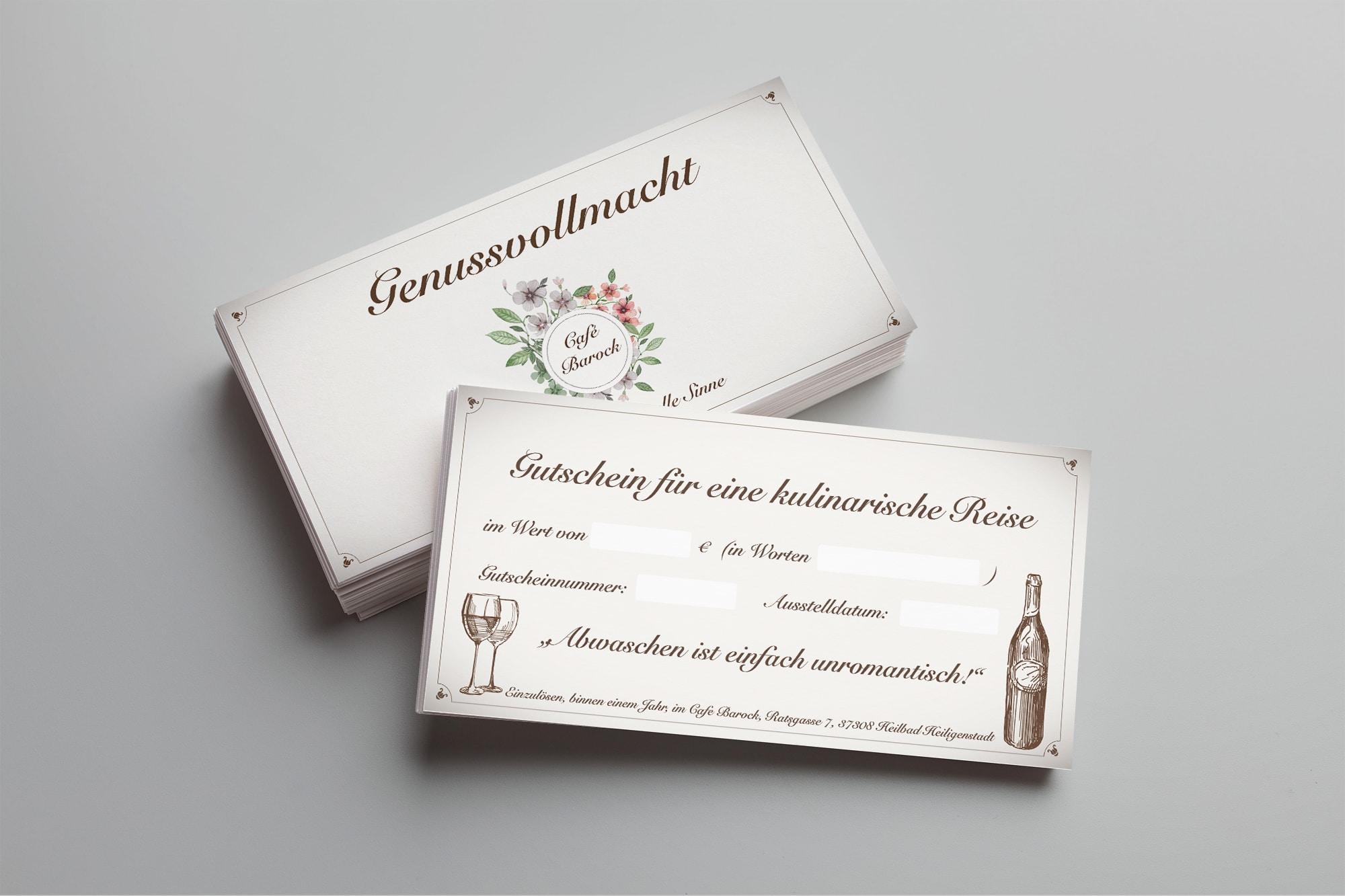 Genussticket MockUpCorporate Design Visitenkarte Speisekarte Gutschein