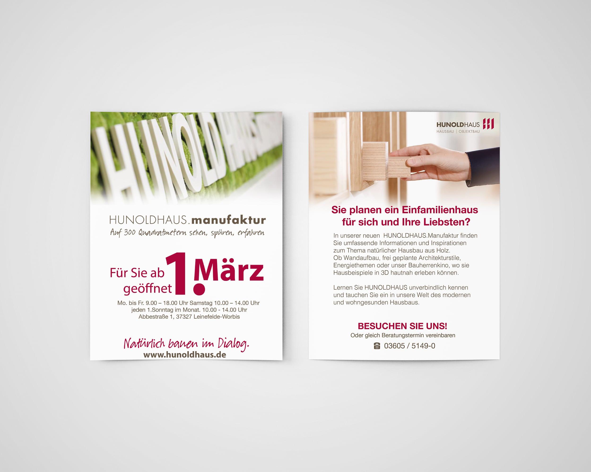 Hunold Haus Flyer Druck Design Marketing Eichsfeld Leinefelde