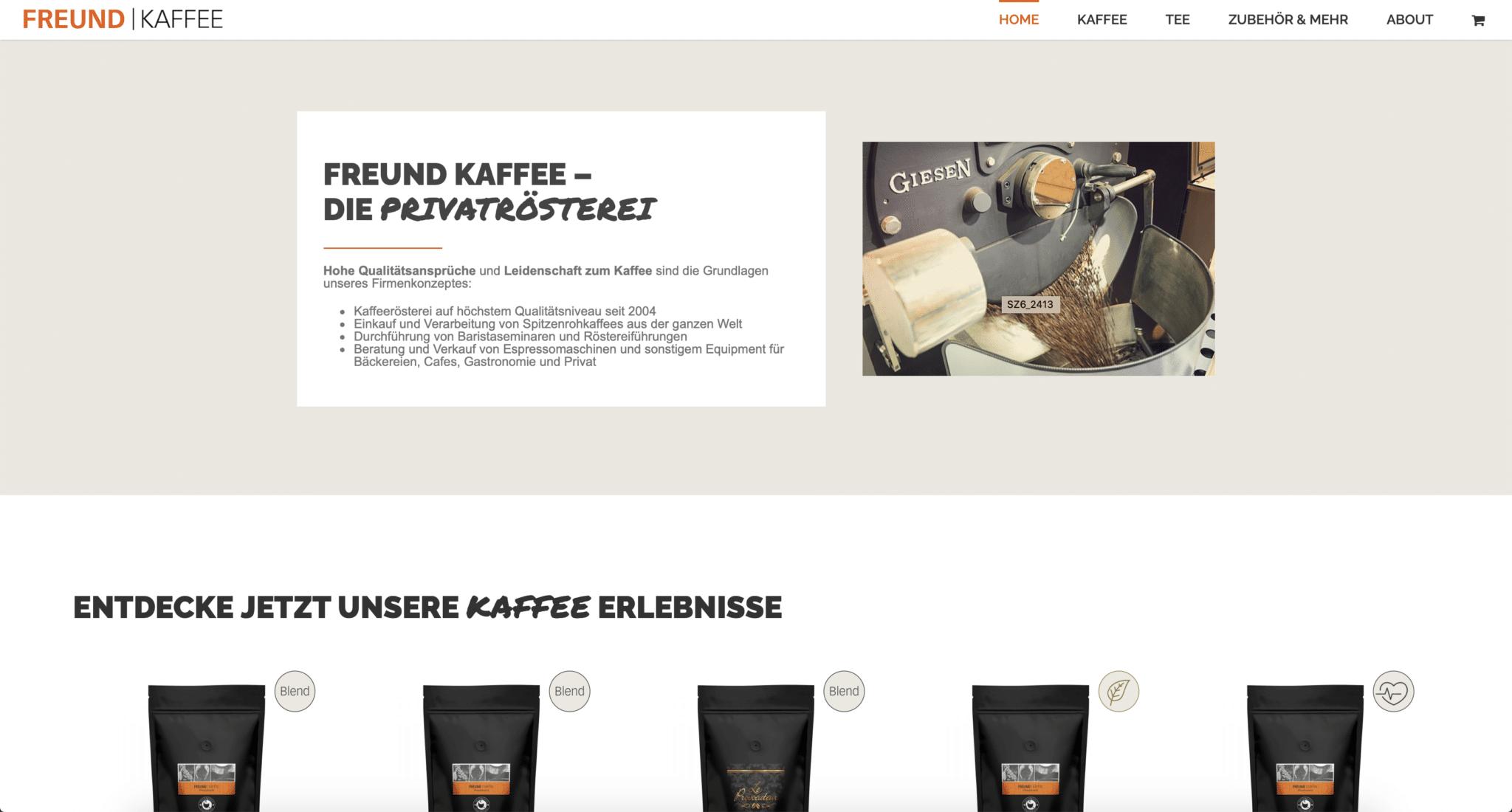 Webshop Onlineshop Online Shop Webseite Ladenbau Kaffee Freund